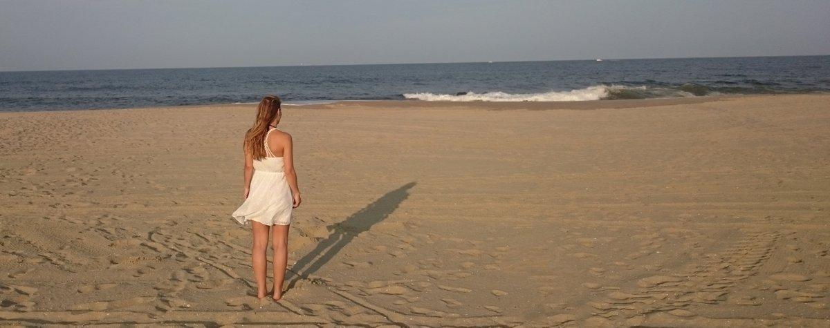 Strandfoto der Tochter