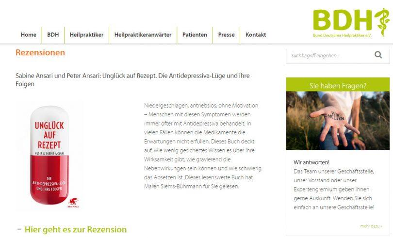 Bund deutscher Heilpraktiker empfiehlt Unglück auf Rezept