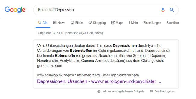 Google Suche Depressionen Botenstoff